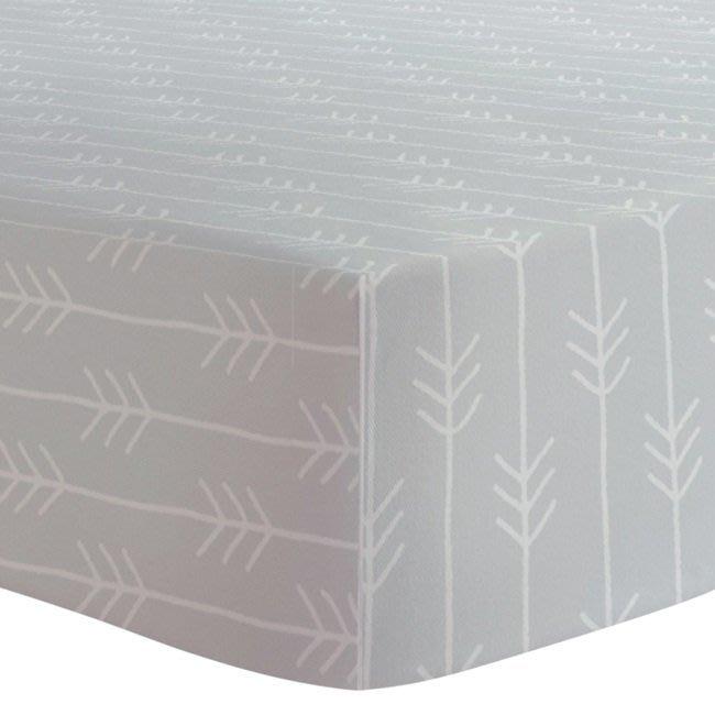 【兔寶寶部屋】Kushies棉絨嬰兒床床包-霧灰箭羽紋 /三種尺寸可選/加拿大原裝進口/純棉材質