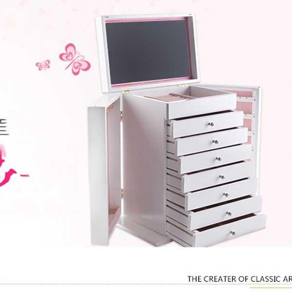 5Cgo【鴿樓】會員有優惠  21493035871 韓國公主實多層木質抽屜大首飾盒 首飾收納盒 歐式戒指盒表盒 8層飾