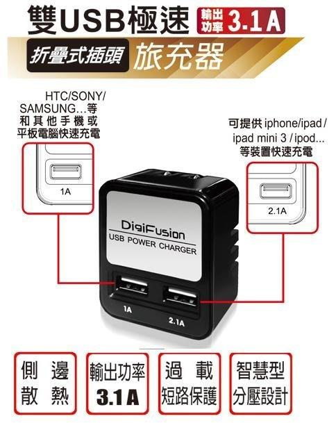 [哈GAME族]伽利略 AC 轉 USB 雙USB 極速 折疊式插頭 旅充器 USB-008 過載短路保護