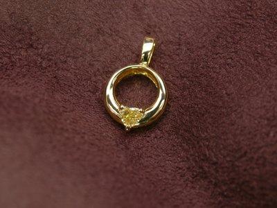 (2020.11.16售出)可訂製天然彩鑽 簡約閃亮大方 愛心黃鑽墜 14K金 黃彩鑽 另有GIA彩鑽