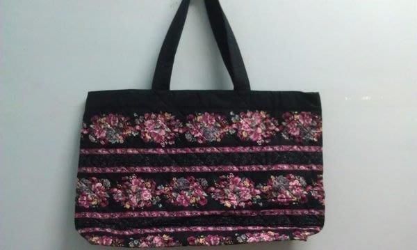 NaRaYa  黑底薔薇花旅行袋(大)  泰國曼谷包 手提 肩背 無拉鍊  媽媽袋 二手 低價起標