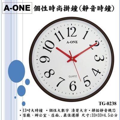 A-ONE超靜音時鐘 個性大數字對比顏色 公司客廳咖啡廳民宿補習班 13吋大時鐘 台灣製造附保卡TG-0238