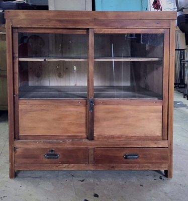 【Côté Rétro老傢俱專賣】檜木玻璃櫃 中藥櫃 老件 vintage 復古 檜木