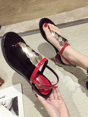 小尤家~網紅涼鞋女夏季新款個性時尚夾趾超火高跟鞋金屬裝飾羅馬鞋潮