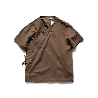 ∵ PRAY FOR FASHION ∴中國風漢服休閒亞麻棉麻短袖古著古裝盤扣麻布短袖襯衫