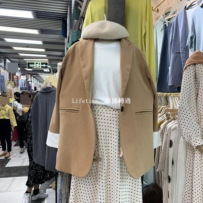 Lifetime~~韓國專櫃韓國ulzzang2019春季march 11th簡約通勤拼色袖口顯瘦西裝外套女