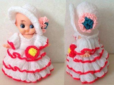日本早期紅白澎澎裙珍珠項鍊Q比娃娃  ...