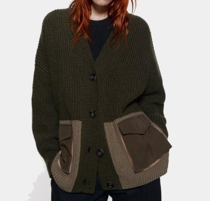 ##毛衣##歐美新款秋冬新款拼接厚毛衣罩衫外套Y13-28010
