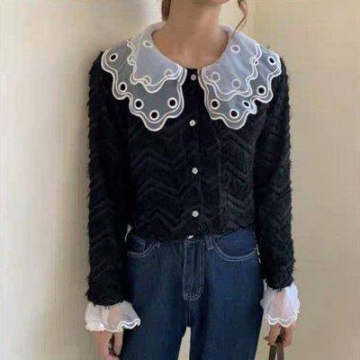 韓版蕾絲花娃娃領流蘇小香風黑色長袖薄襯衫