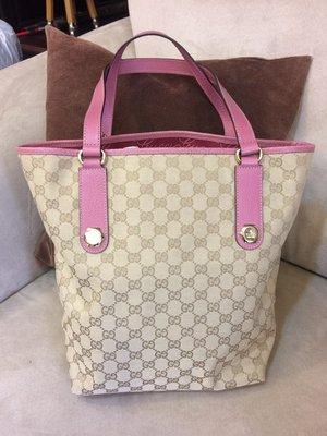 全新真品 Gucci 粉紅色 水桶包 牛奶包 手提包 肩背包 托特包
