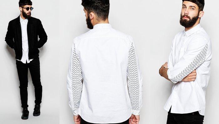 ◎美國代買◎ASOS齒狀波浪曲線印花裝飾袖長英倫個性風純棉白色印花襯衫~歐美街風~大尺碼