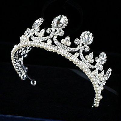 【叮叮親子商城】新款女童公主皇冠頭飾水鉆珍珠皇冠兒童生日皇冠頭飾晚會演出發飾