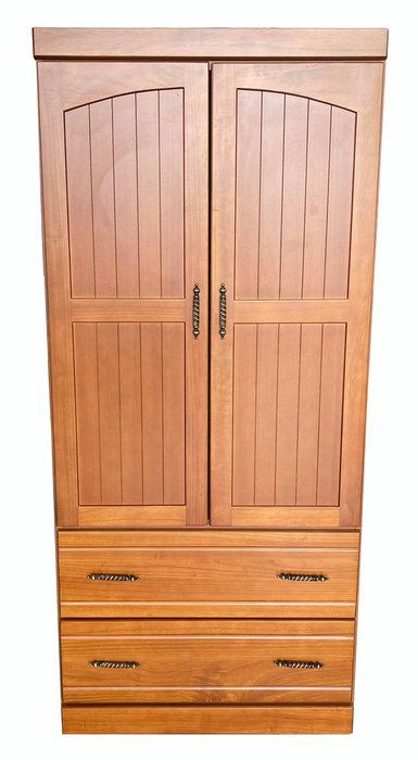 台中二手家具賣場 宏品中古家具館 LC1205CF*全新半樟木2抽實木衣櫃*臥室家具 櫥櫃 床組 床墊 化妝鏡桌椅 床墊