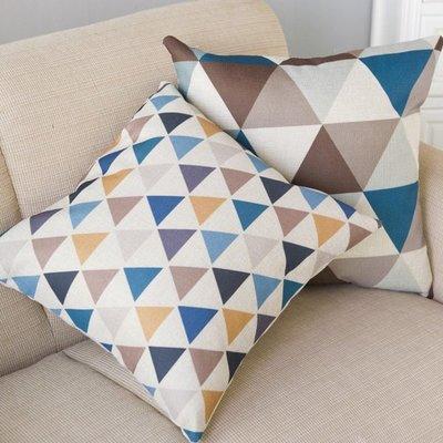 《Jami Honey》【JI1696】簡約彩色大小三角形系列棉麻抱枕套 枕頭套