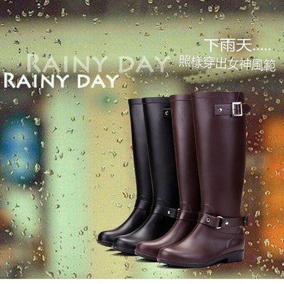機車族必備抗寒保暖 雨天伴侶 韓國明星流行同款高筒雨靴防水機車女靴子時尚馬靴造型雨鞋(168現貨+預購)