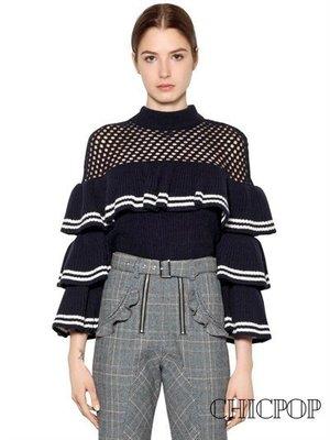 【Chicpop】SELF-PORTRAIT Striped Frill 蕾絲 上衣17秋冬新款 深藍款
