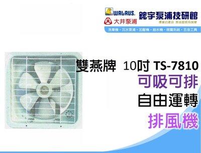 含稅【鋐宇泵浦技研館】雙燕牌 電扇 TS-7810 10吋 排風機 110V