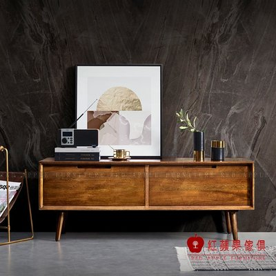 [紅蘋果傢俱]MG980 金絲檀木(胡桃木)系列  電視櫃 茶几餐邊櫃 斗櫃 鞋櫃 書桌 餐桌 實木 北歐風  輕奢