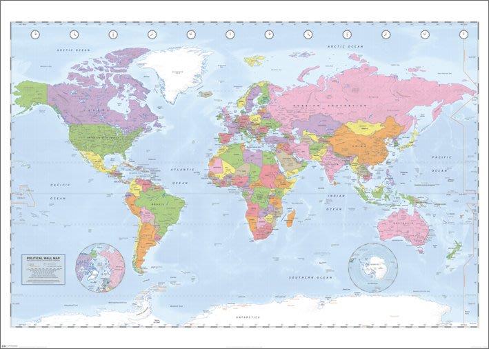 海報拼圖專賣店:海報:GPP51037(世界地圖-100x140cm大型海報-清晰版 )