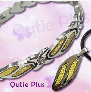 Qutie plus水漾晶鑽鈦鍺套組 鈦鍺手鍊項鍊 磁石手鍊項鍊