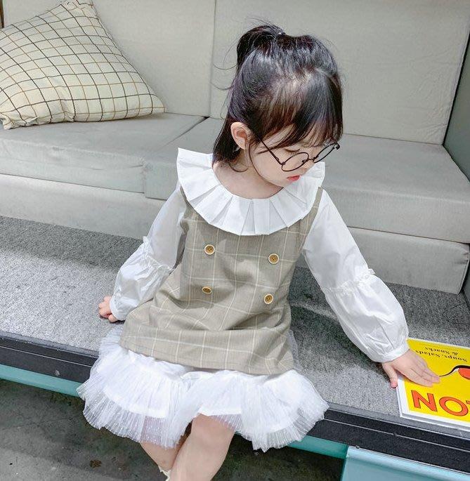 蜜寶貝*92526-女童裙子假兩件韓版連衣裙公主裙洋裝 秋款-尺寸90-130CM-0021