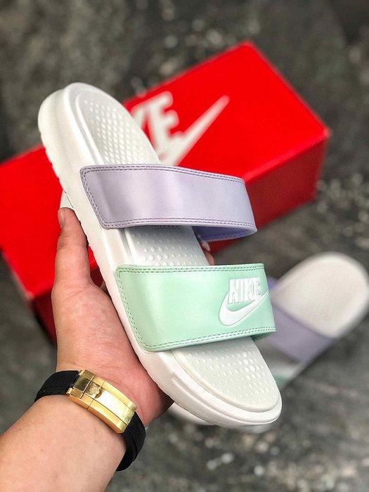 NIKE BENASSI ULTRA 白綠紫 經典 休閒拖鞋 819717-103 女鞋