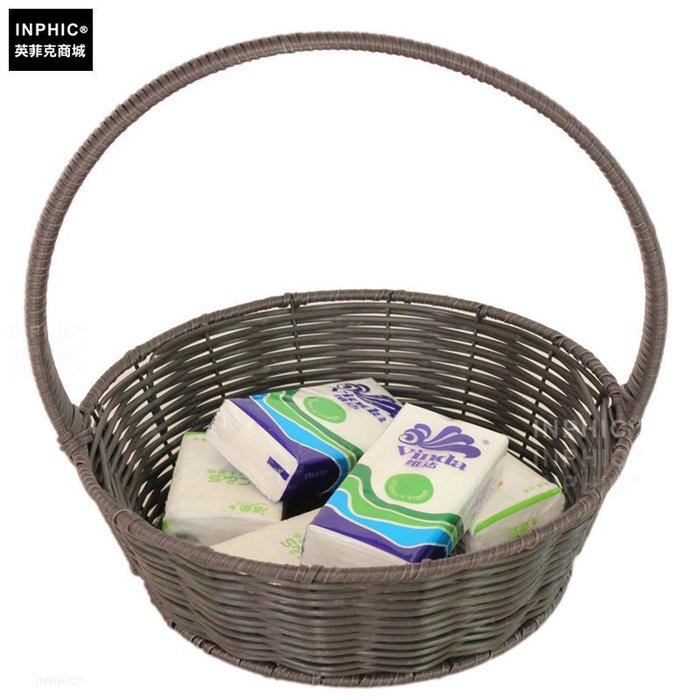 INPHIC-塑膠藤竹 雞蛋籃手提籃子零食籃水果收納籃仿竹籃花籃掛籃小款