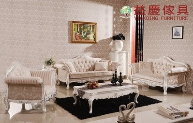 【大熊傢俱】新古典沙發 布沙發  沙發組椅 實木雕花 絨布沙發 組椅 沙發床 1+2+3沙發組