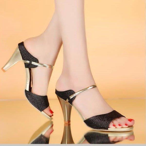 5Cgo【鴿樓】會員有優惠 527925673182 夏季性感女鞋涼鞋新款高跟細跟中跟甜美魚嘴亮片一字涼拖鞋