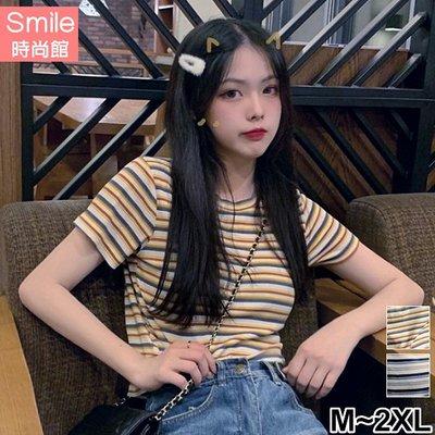 【V3117】SMILE-學院風.顯瘦百搭條紋短袖上衣