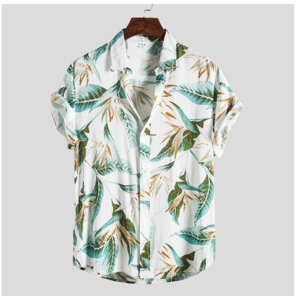 FINDSENSE X  男士 薄款 棉麻 短袖 上衣 花花圖案襯衣 休閒 襯衫防曬上衣