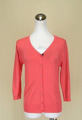 貞新二手衣 RAINING SHOP 粉紅V領長袖棉質外套罩衫F號(71567)