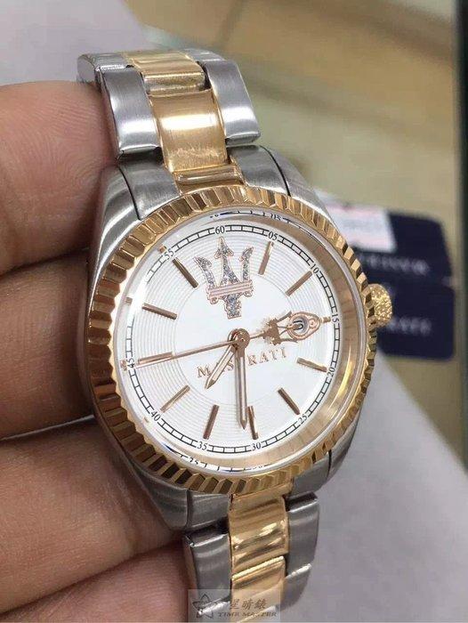 請支持正貨,瑪莎拉蒂手錶MASERATI手錶COMPETIZIONE 款,編號:MA00069,銀色錶面玫瑰金銀錶帶款
