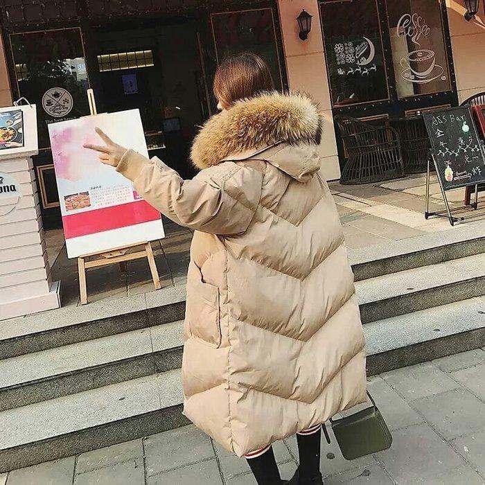 🔥【火熱實拍】🔥韓-大毛領過膝 加厚羽絨外套 中長款寬鬆 顯瘦【三色S-XL】