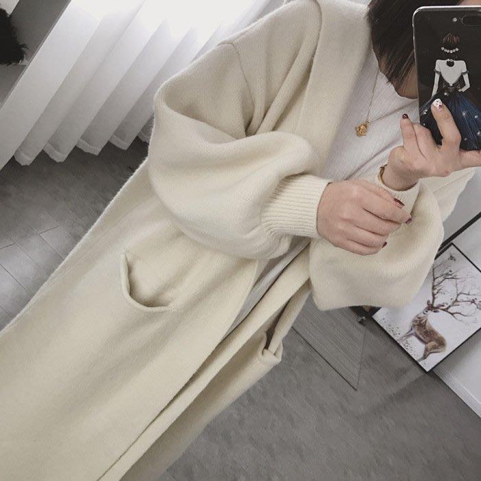 正韓 韓國直送 超美 無釦連帽針織大衣 含兔絨 長版 罩衫 外套 長版外套 大衣 長版大衣 針織衫 毛衣 長版毛衣