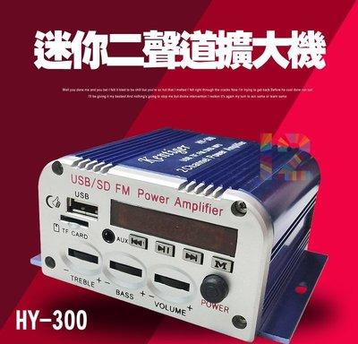 ►3C當舖12號◄ HY-300迷你二聲道擴大機~家用/機車/汽車 皆可!支援FM、SD、USB、MP3 現貨
