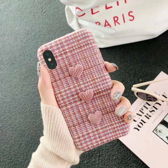 千夢貨鋪-少女粉千鳥格愛心iPhone xs max手機殼7P/6S蘋果X絨布8plus女款XR