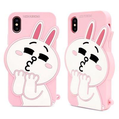 正版 Line Friends  立體矽膠果凍套 啾啾兔兔 - iPhone X