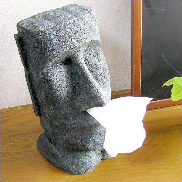 (I LOVE樂多)日本進口 MOAI復活節島摩艾 頭像實景立式造型面紙盒 送人自用兩相宜