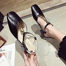 小尤家~網紅涼鞋女夏新款超火方頭淺口一字扣帶工作鞋韓版粗跟仙女鞋