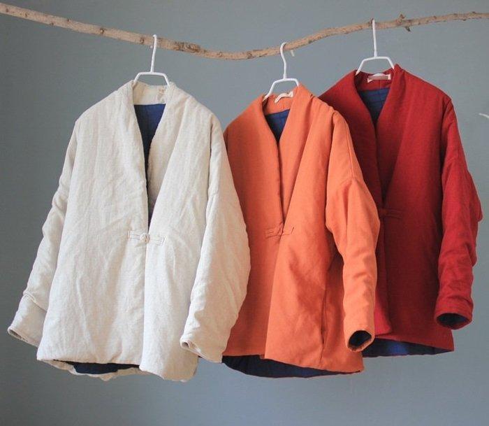 (老銀屋)簡約麻質盤扣棉襖外套/上衣