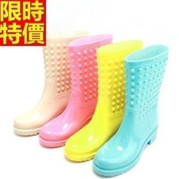 中筒雨靴子 雨具-帥氣酷炫鉚釘糖果色女雨鞋子4色66ak12[獨家進口][米蘭精品]