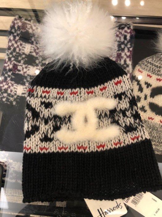 Chanel 香奈兒 Coco Neige 滑雪運動系列毛帽 黑 白 CC