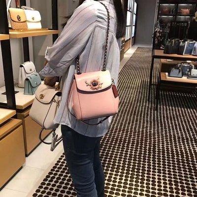 COACH 52995 新款茶玫瑰迷你後背包 多種背法 超美膩 時尚可愛 鏈條肩帶