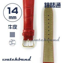 【鐘錶通】C1.30AA《霧面系列》鱷魚格紋-14mm 霧面朱紅┝手錶錶帶/皮帶/牛皮錶帶┥