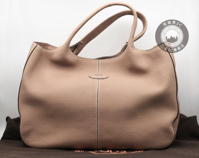 【青蘋果3c】TOD's  荔枝紋軟牛皮 肩背手提包 粉色 二手精品包#06732