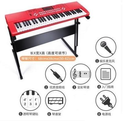 ZIHOPE 電子琴兒童初學女孩61鍵多功能鋼琴帶麥克風寶寶3-6-12歲音樂玩具ZI812