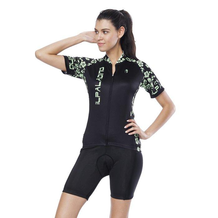 【Paladin】女款短袖車衣褲套裝 :: 綠花