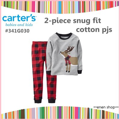 Enen Shöp @Carters 聖誕麋鹿款/格紋褲居家服兩件組 ∥  2T/4T  **推薦款**