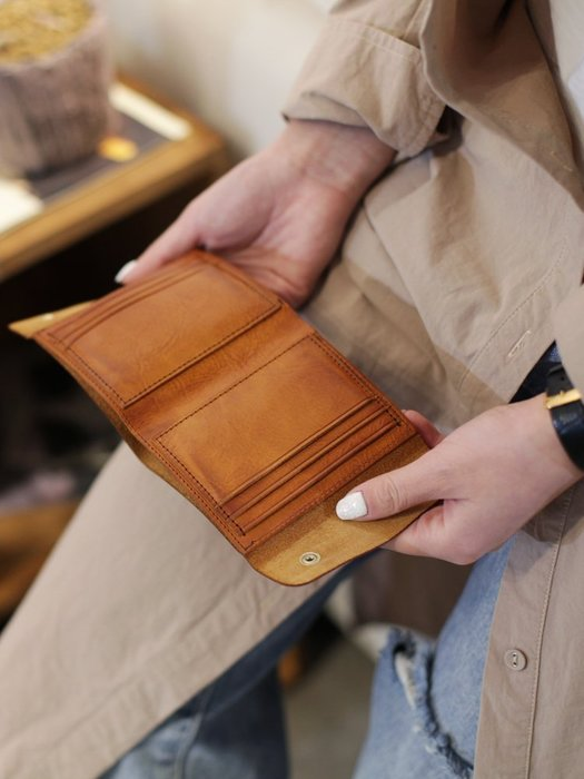 【鈷藍家】手工女包 牛皮錢包兩折真皮短夾